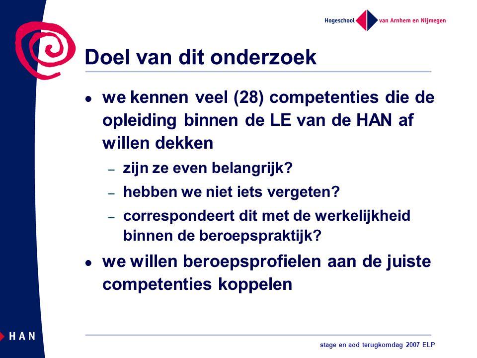 stage en aod terugkomdag 2007 ELP Doel van dit onderzoek we kennen veel (28) competenties die de opleiding binnen de LE van de HAN af willen dekken – zijn ze even belangrijk.