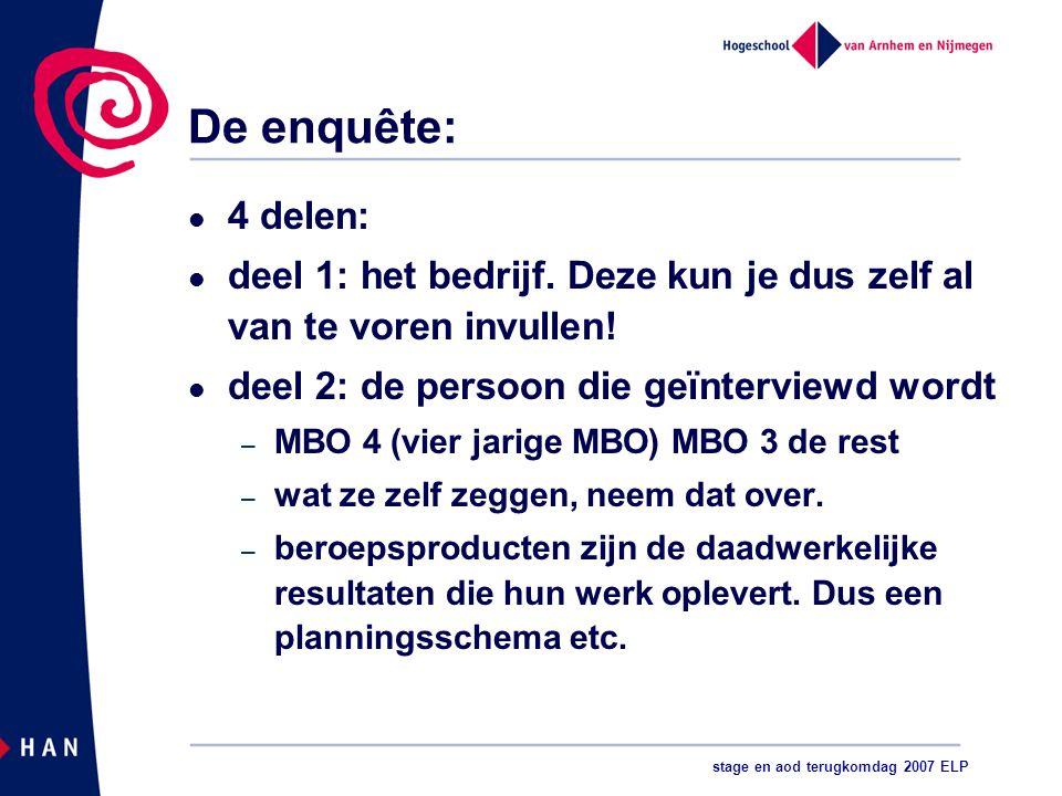 stage en aod terugkomdag 2007 ELP De enquête: 4 delen: deel 1: het bedrijf.
