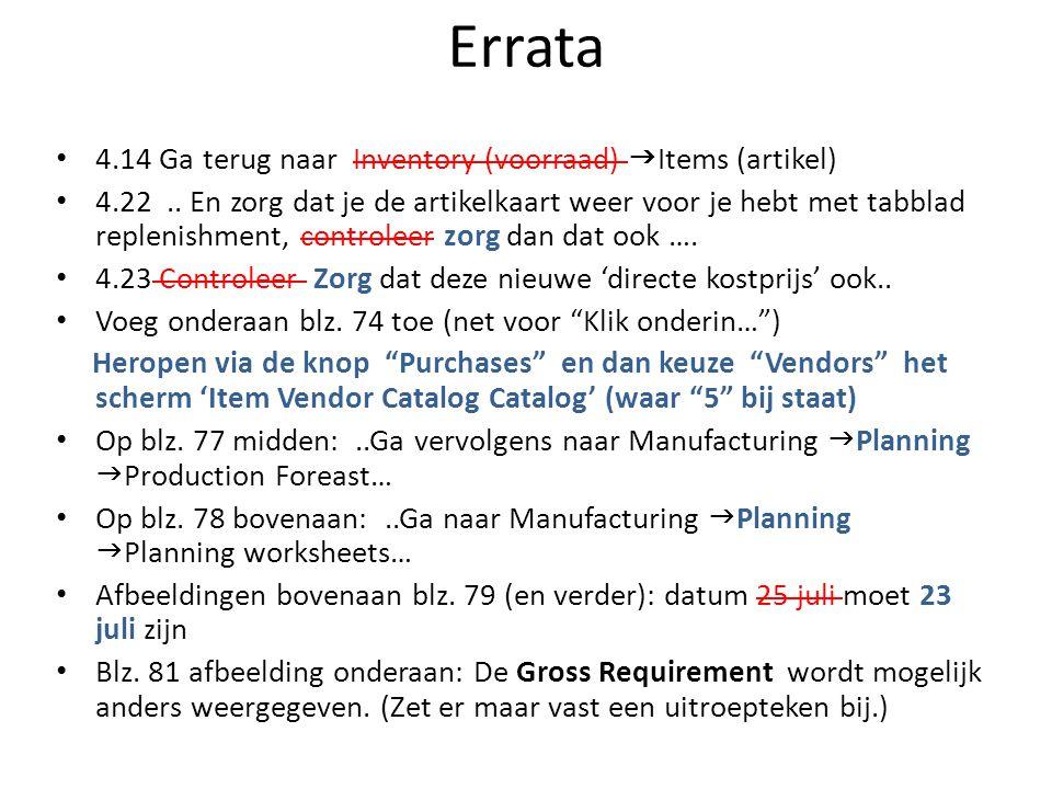 Errata 4.14 Ga terug naar Inventory (voorraad)  Items (artikel) 4.22..