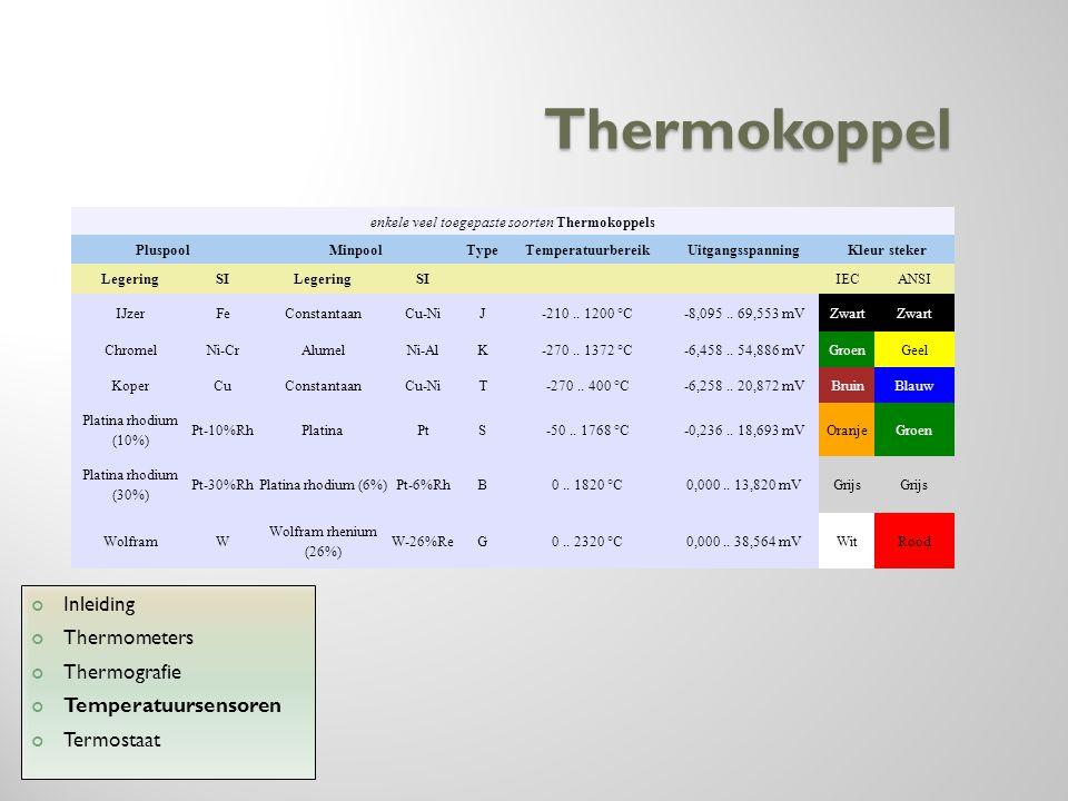 Thermokoppel Inleiding Thermometers Thermografie Temperatuursensoren Termostaat enkele veel toegepaste soorten Thermokoppels PluspoolMinpoolTypeTemper