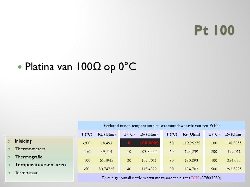 Pt 100 Platina van 100 Ω op 0°C Inleiding Thermometers Thermografie Temperatuursensoren Termostaat Verband tussen temperatuur en weerstandswaarde van