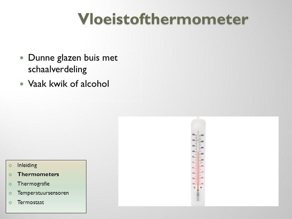 Bimetaalthermometer Twee dunne metalen strips Aan elkaar gesoldeert Vaak in spiraalvorm Inleiding Thermometers Thermografie Temperatuursensoren Termostaat