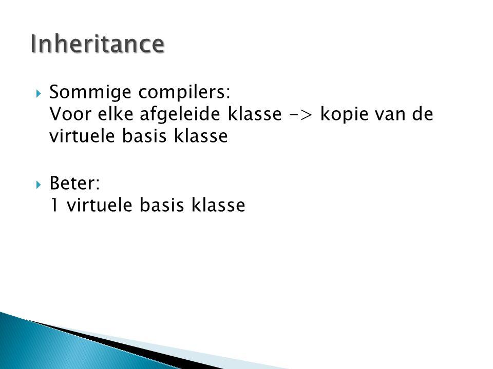  Sommige compilers: Voor elke afgeleide klasse -> kopie van de virtuele basis klasse  Beter: 1 virtuele basis klasse