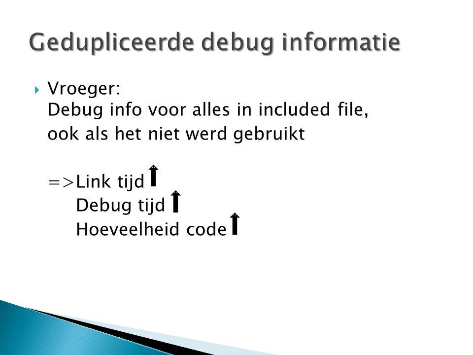  Vroeger: Debug info voor alles in included file, ook als het niet werd gebruikt =>Link tijd Debug tijd Hoeveelheid code