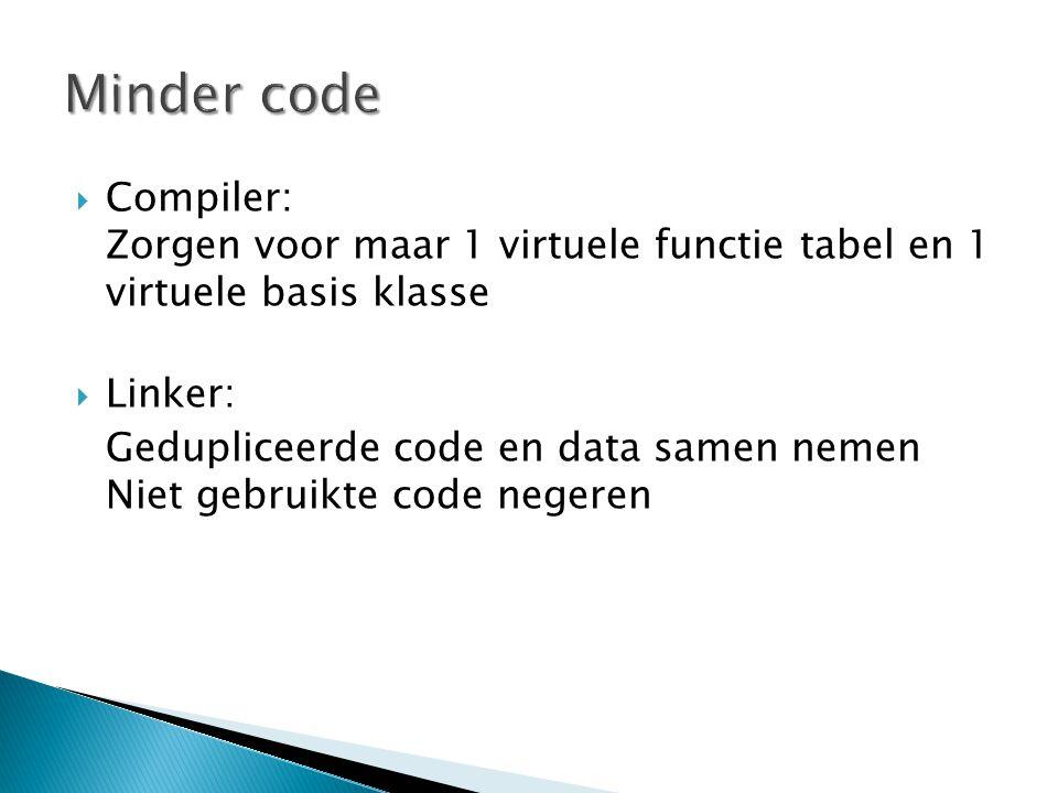  Compiler: Zorgen voor maar 1 virtuele functie tabel en 1 virtuele basis klasse  Linker: Gedupliceerde code en data samen nemen Niet gebruikte code negeren