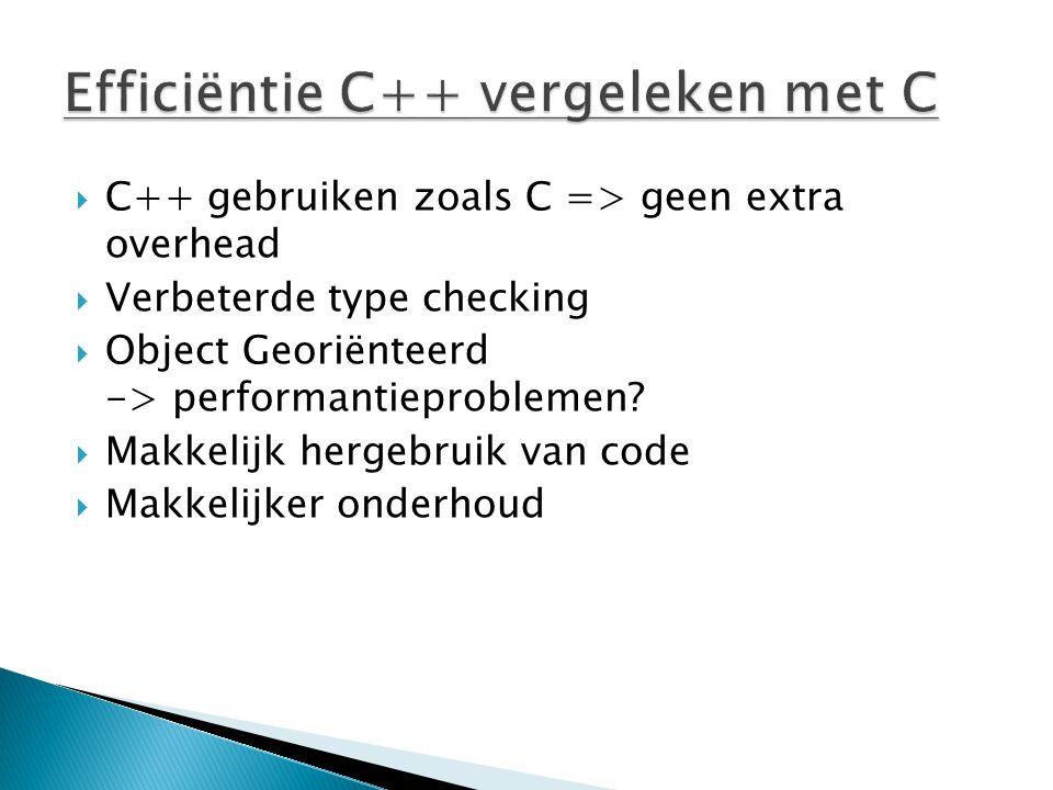  C++ gebruiken zoals C => geen extra overhead  Verbeterde type checking  Object Georiënteerd -> performantieproblemen.