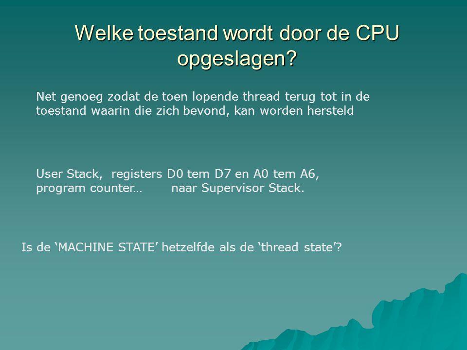 Welke toestand wordt door de CPU opgeslagen.
