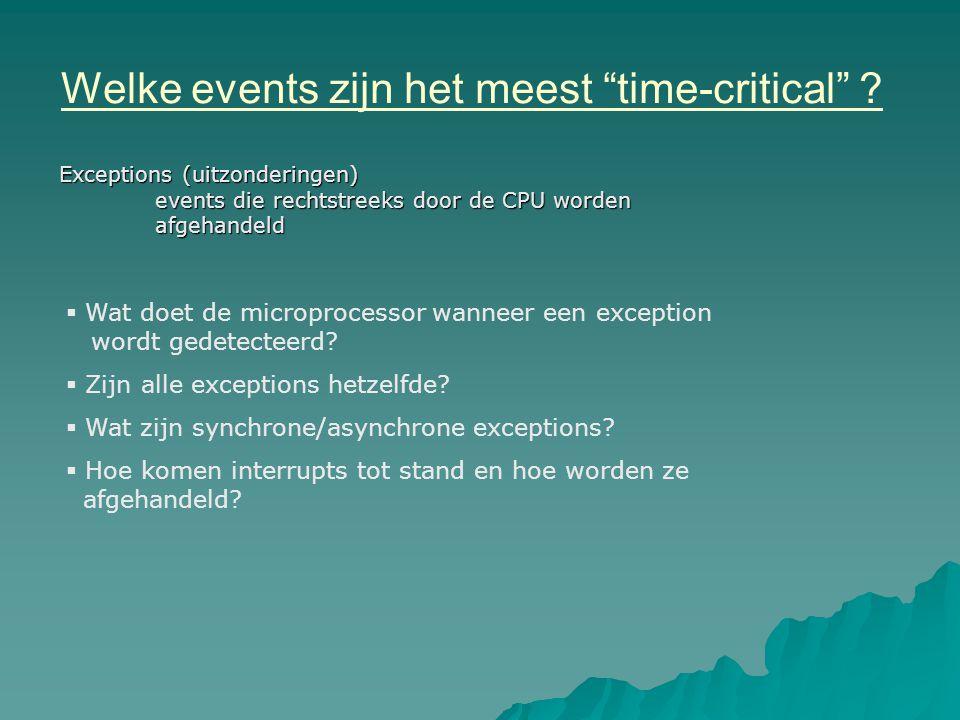Welke events zijn het meest time-critical .