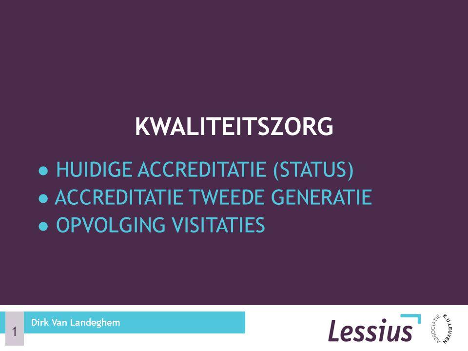 ● HUIDIGE ACCREDITATIE (STATUS) ● ACCREDITATIE TWEEDE GENERATIE ● OPVOLGING VISITATIES KWALITEITSZORG 1 Dirk Van Landeghem