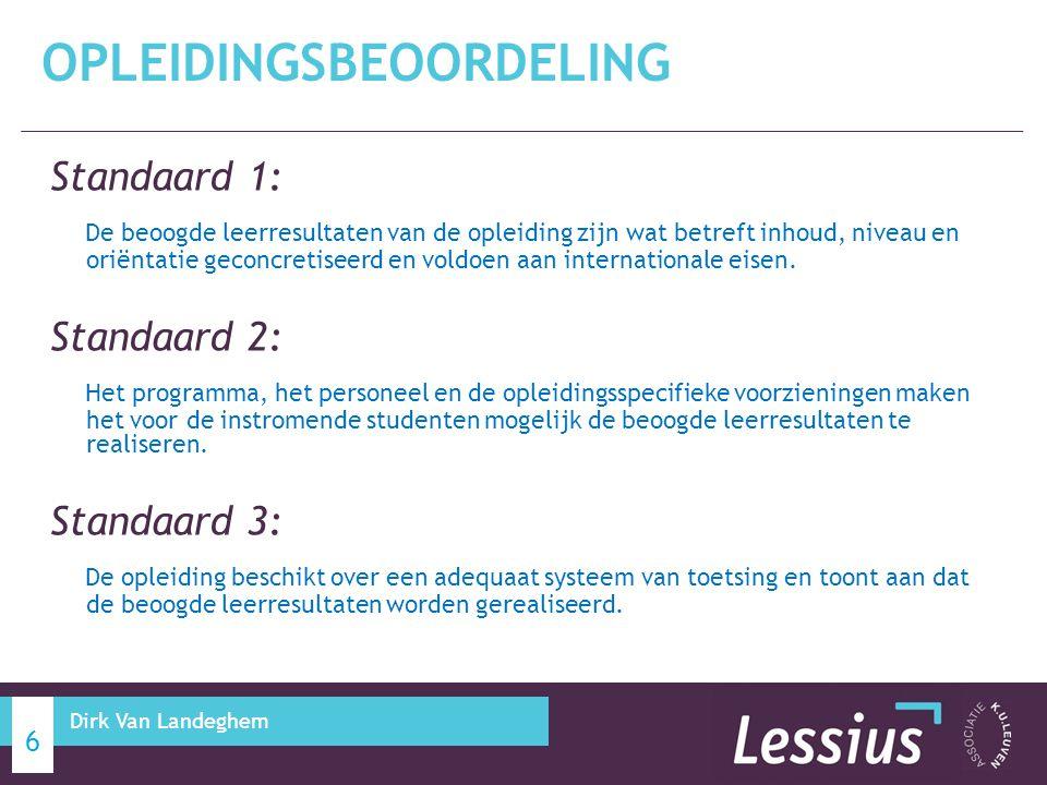 Standaard 1: De beoogde leerresultaten van de opleiding zijn wat betreft inhoud, niveau en oriëntatie geconcretiseerd en voldoen aan internationale ei