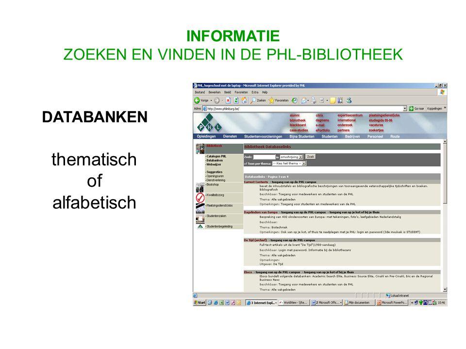 DATABANKEN thematisch of alfabetisch INFORMATIE ZOEKEN EN VINDEN IN DE PHL-BIBLIOTHEEK