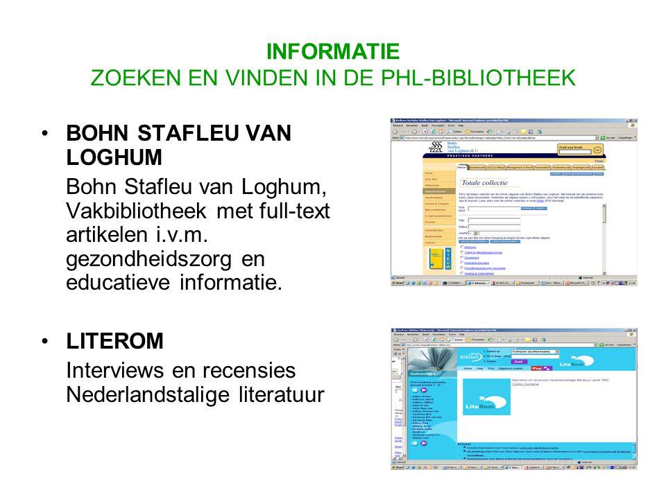 BOHN STAFLEU VAN LOGHUM Bohn Stafleu van Loghum, Vakbibliotheek met full-text artikelen i.v.m.