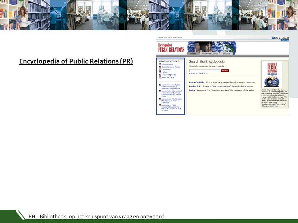 PHL-Bibliotheek, op het kruispunt van vraag en antwoord. Encyclopedia of Public Relations (PR)