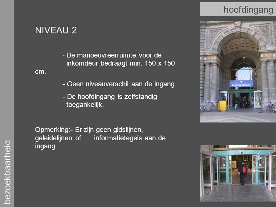 bezoekbaarheid hoofdingang NIVEAU 2 - De manoeuvreerruimte voor de inkomdeur bedraagt min.