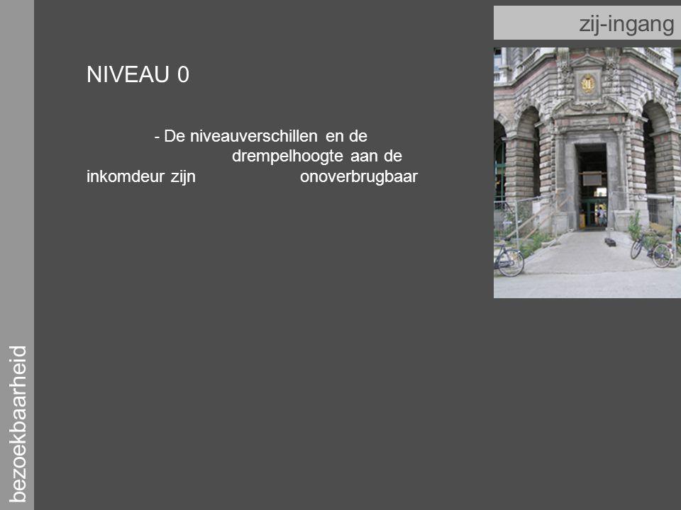 bezoekbaarheid zij-ingang NIVEAU 0 - De niveauverschillen en de drempelhoogte aan de inkomdeur zijn onoverbrugbaar