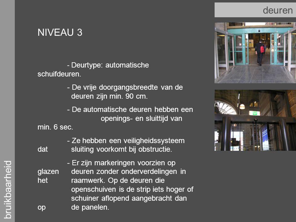bruikbaarheid deuren NIVEAU 3 - Deurtype: automatische schuifdeuren.
