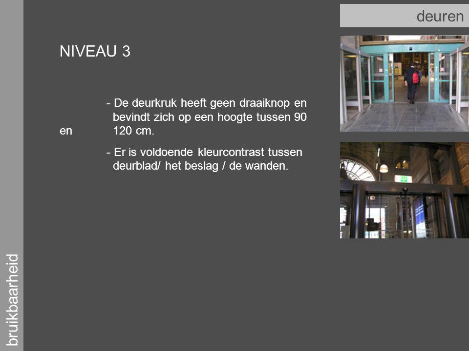 bruikbaarheid deuren NIVEAU 3 - De deurkruk heeft geen draaiknop en bevindt zich op een hoogte tussen 90 en 120 cm.