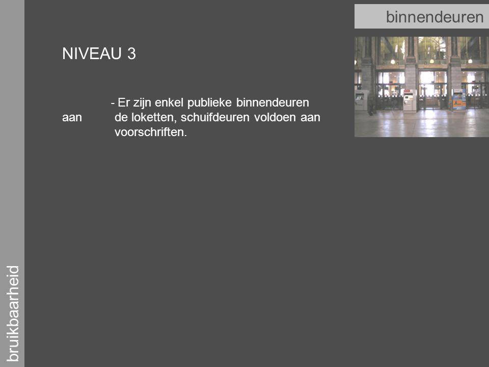 bruikbaarheid binnendeuren NIVEAU 3 - Er zijn enkel publieke binnendeuren aan de loketten, schuifdeuren voldoen aan voorschriften.