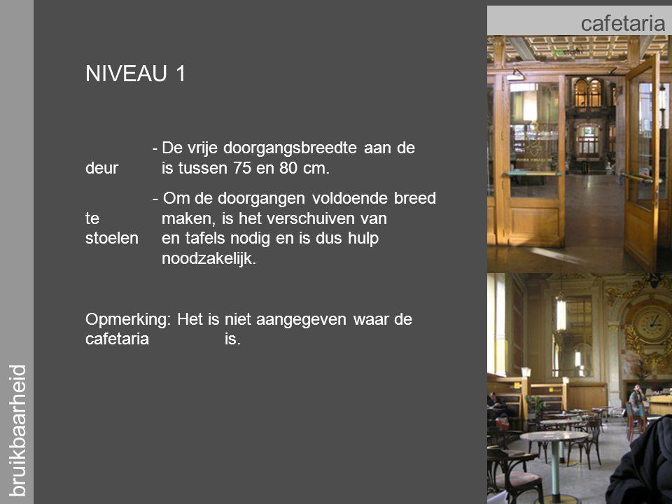 bruikbaarheid cafetaria NIVEAU 1 - De vrije doorgangsbreedte aan de deur is tussen 75 en 80 cm.