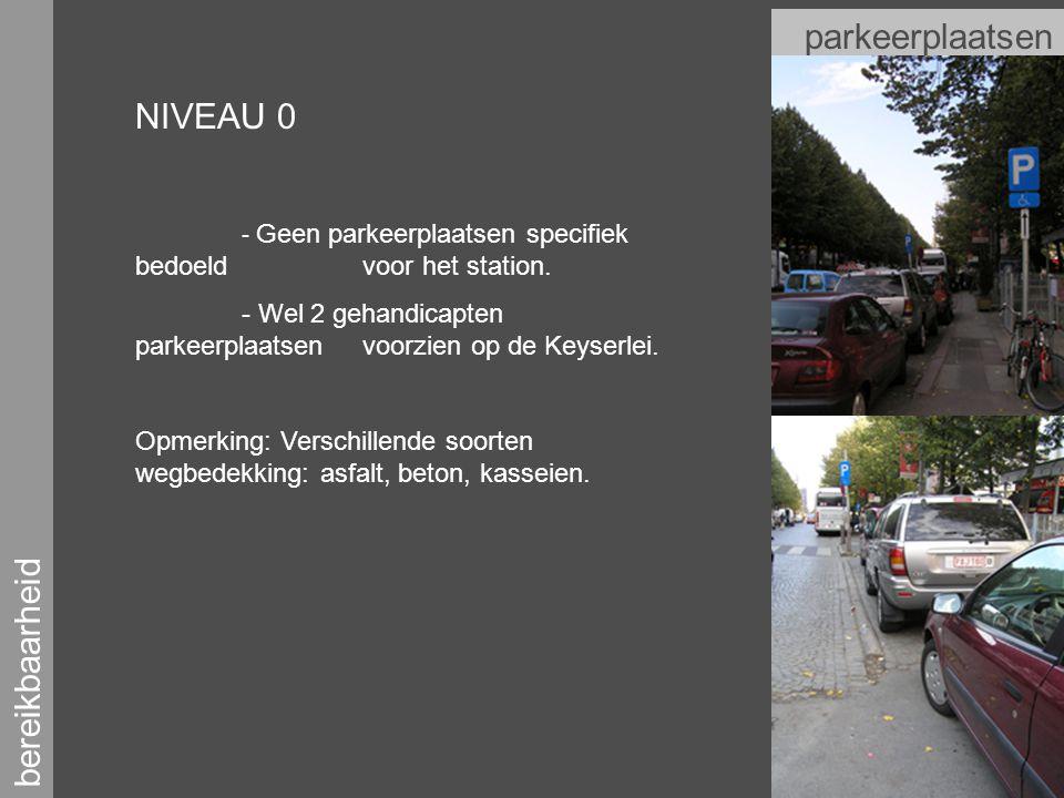 bereikbaarheid parkeerplaatsen NIVEAU 0 - Geen parkeerplaatsen specifiek bedoeld voor het station.