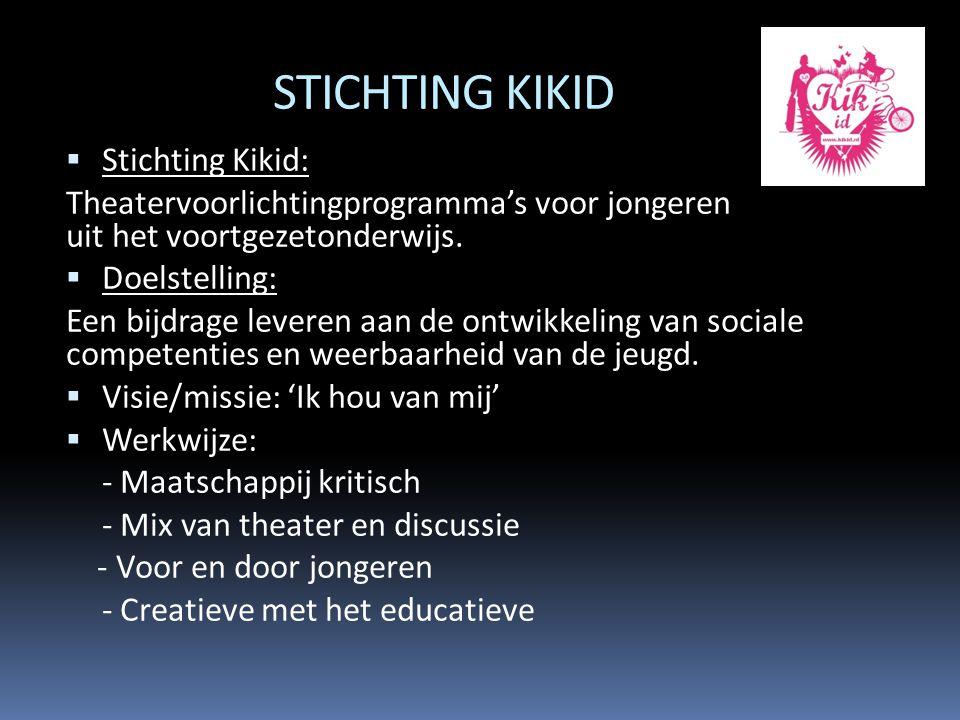 STICHTING KIKID  Stichting Kikid: Theatervoorlichtingprogramma's voor jongeren uit het voortgezetonderwijs.  Doelstelling: Een bijdrage leveren aan
