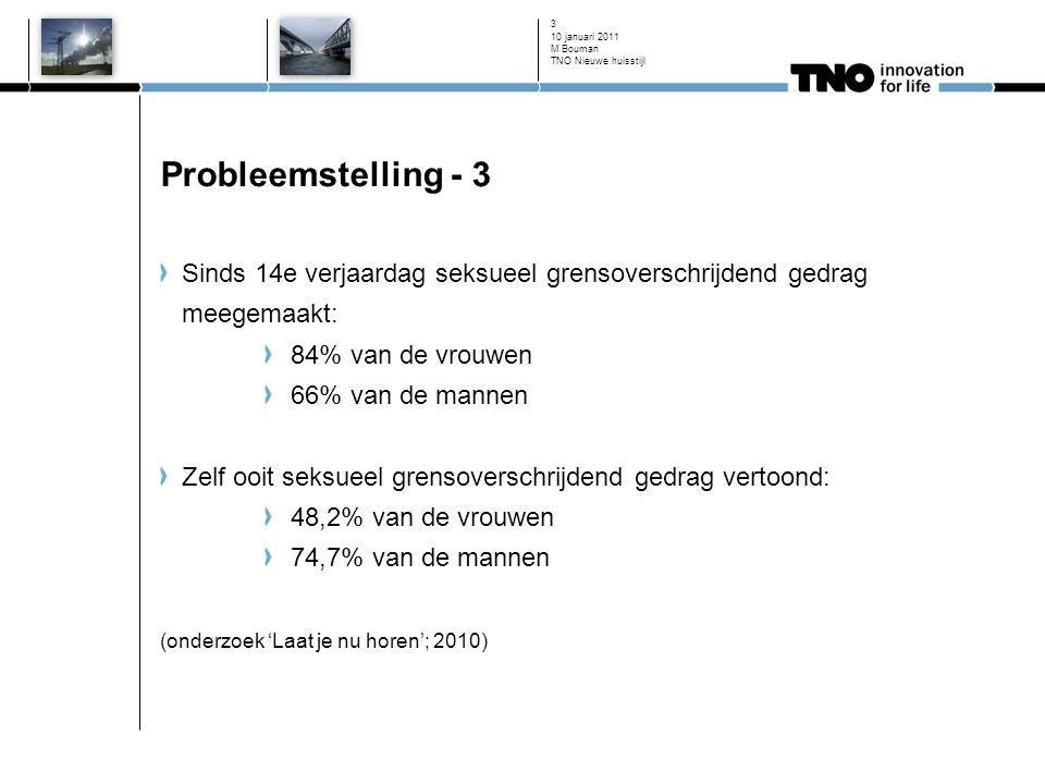 10 januari 2011 3 Probleemstelling - 3 Sinds 14e verjaardag seksueel grensoverschrijdend gedrag meegemaakt: 84% van de vrouwen 66% van de mannen Zelf