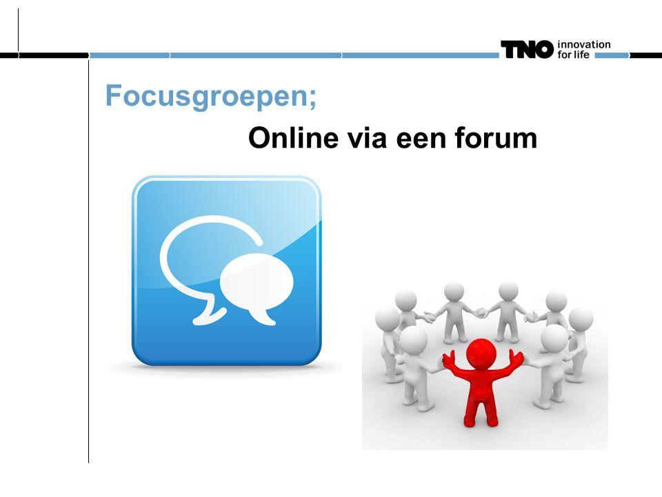Online via een forum Focusgroepen;