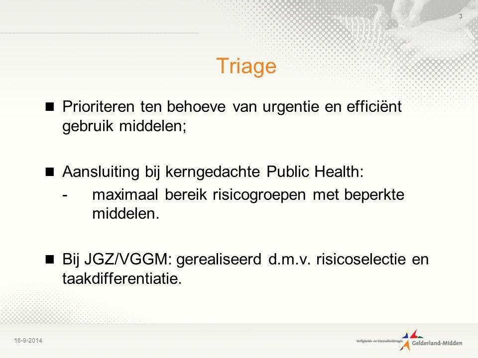 16-9-2014 3 Triage Prioriteren ten behoeve van urgentie en efficiënt gebruik middelen; Aansluiting bij kerngedachte Public Health: -maximaal bereik ri