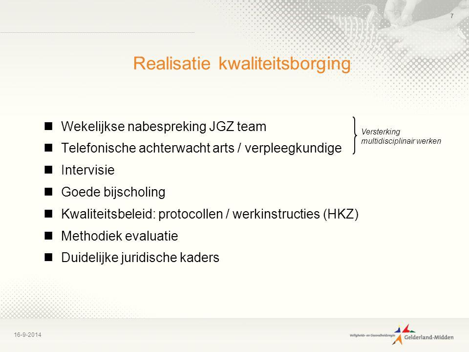 16-9-2014 7 Realisatie kwaliteitsborging Wekelijkse nabespreking JGZ team Telefonische achterwacht arts / verpleegkundige Intervisie Goede bijscholing