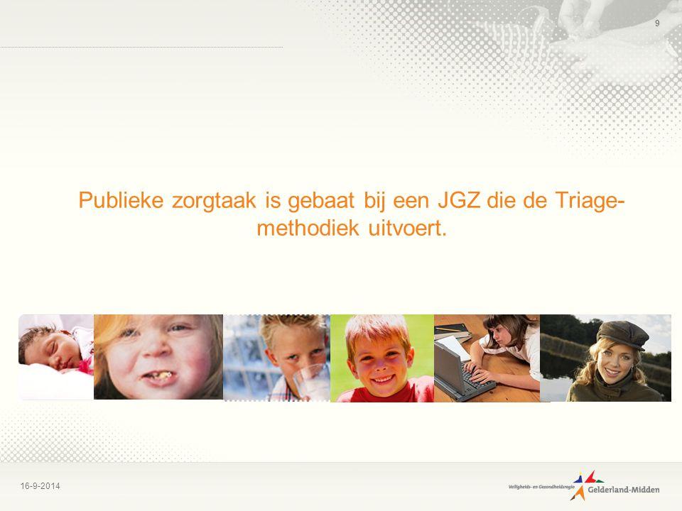16-9-2014 9 Publieke zorgtaak is gebaat bij een JGZ die de Triage- methodiek uitvoert.