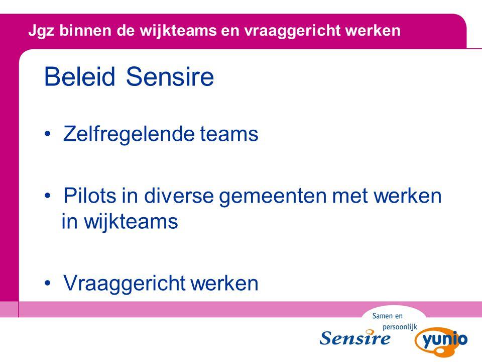 Beleid Sensire Zelfregelende teams Pilots in diverse gemeenten met werken in wijkteams Vraaggericht werken