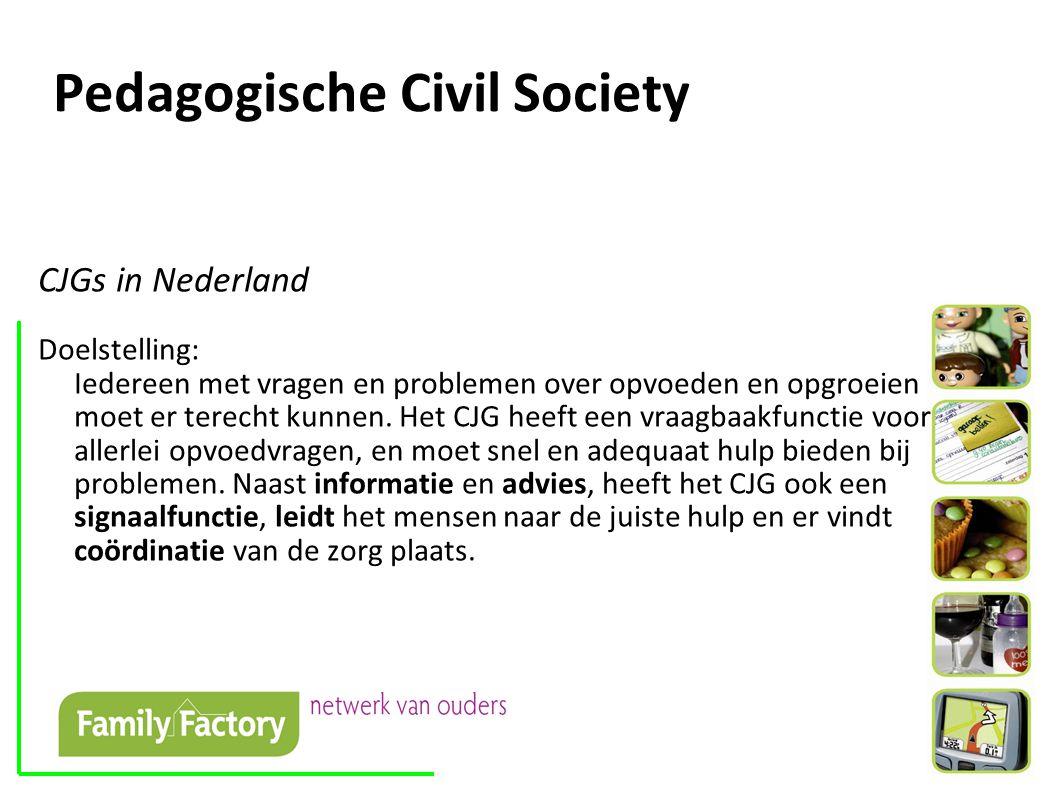 Pedagogische Civil Society CJGs in Nederland Doelstelling: Iedereen met vragen en problemen over opvoeden en opgroeien moet er terecht kunnen.