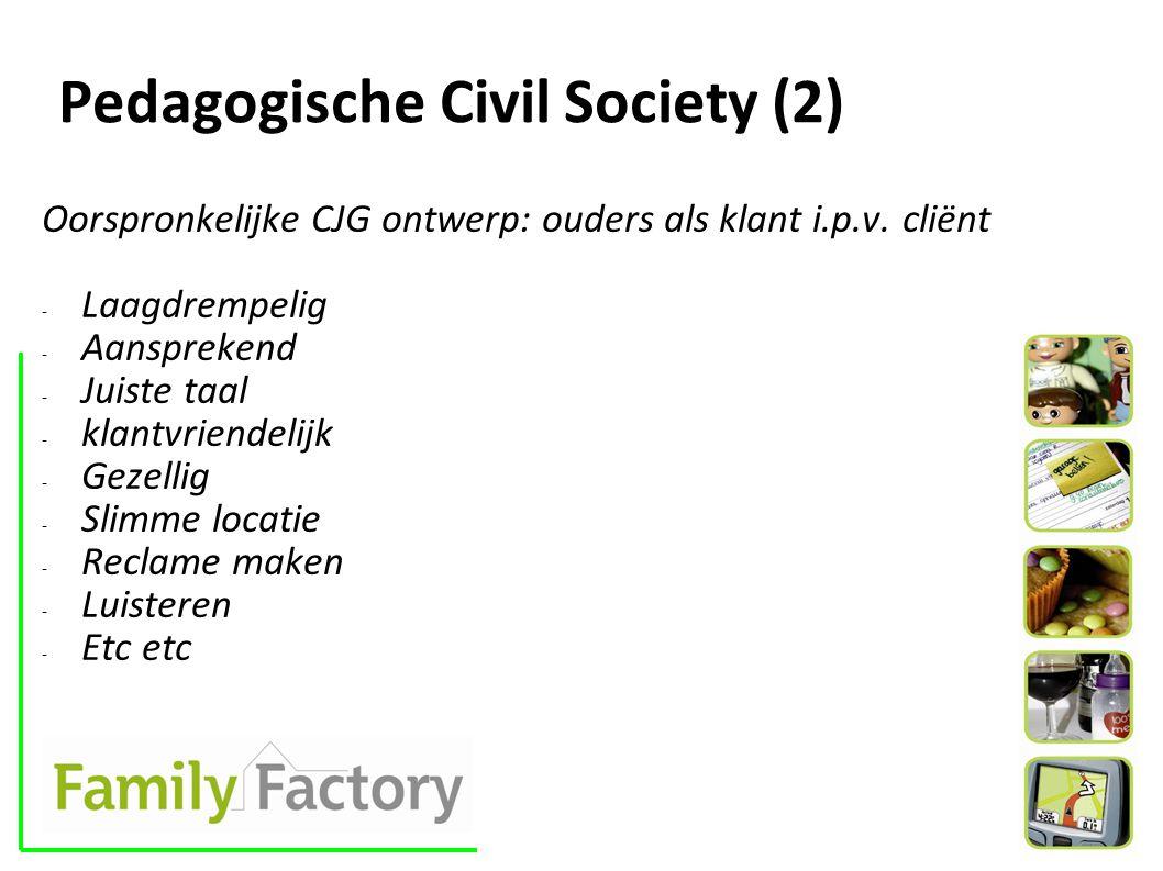 Pedagogische Civil Society (2) Oorspronkelijke CJG ontwerp: ouders als klant i.p.v.