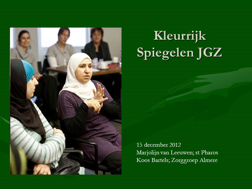 Kleurrijk Spiegelen JGZ 15 december 2012 Marjolijn van Leeuwen; st Pharos Koos Bartels; Zorggroep Almere