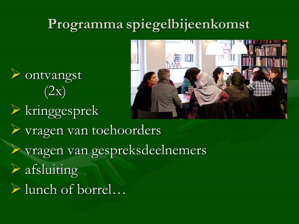 Programma spiegelbijeenkomst  ontvangst (2x)  kringgesprek  vragen van toehoorders  vragen van gespreksdeelnemers  afsluiting  lunch of borrel  lunch of borrel…