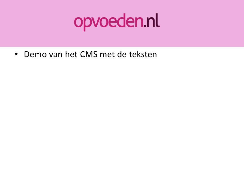 Demo van het CMS met de teksten