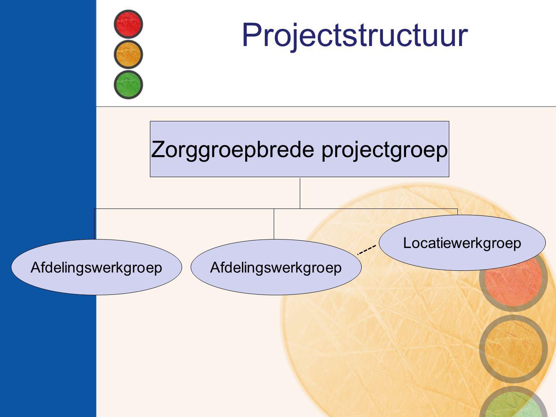 Projectstructuur Zorggroepbrede projectgroep Afdelingswerkgroep Locatiewerkgroep