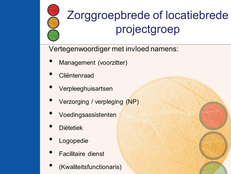 Zorggroepbrede of locatiebrede projectgroep Vertegenwoordiger met invloed namens: Management (voorzitter) Cliëntenraad Verpleeghuisartsen Verzorging /
