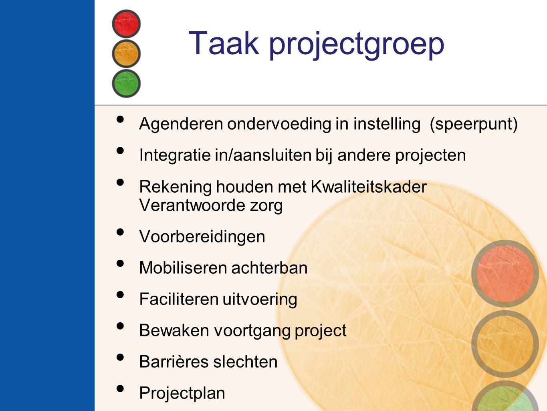 Taak projectgroep Agenderen ondervoeding in instelling (speerpunt) Integratie in/aansluiten bij andere projecten Rekening houden met Kwaliteitskader V