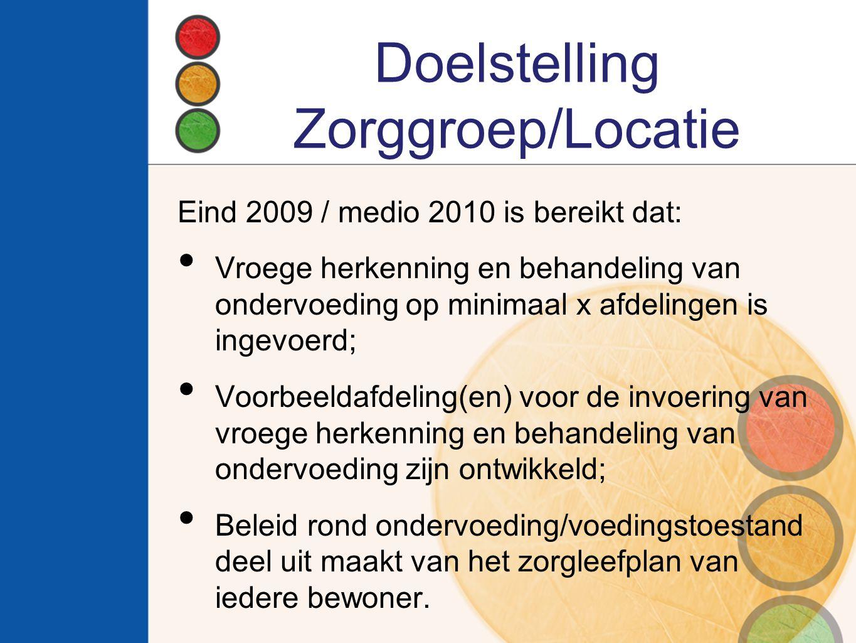 Doelstelling Zorggroep/Locatie Eind 2009 / medio 2010 is bereikt dat: Vroege herkenning en behandeling van ondervoeding op minimaal x afdelingen is in