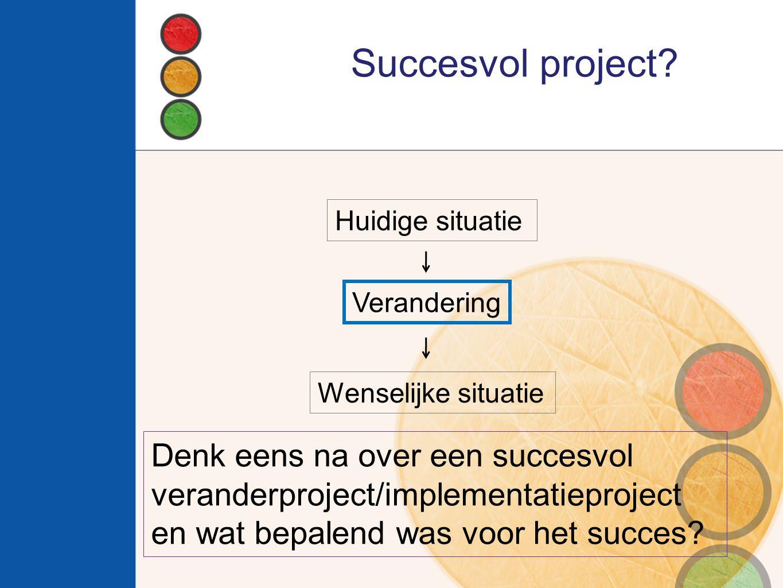Succesvol project? Huidige situatie Verandering Wenselijke situatie Denk eens na over een succesvol veranderproject/implementatieproject en wat bepale
