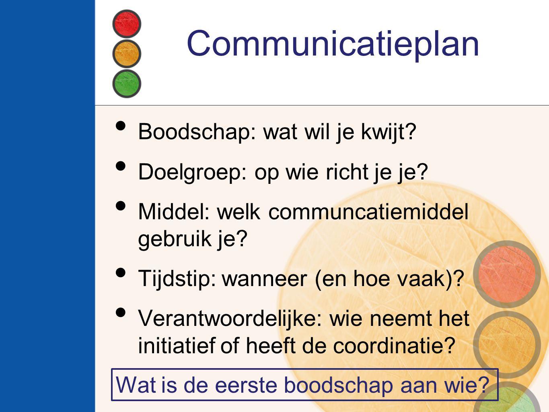 Communicatieplan Boodschap: wat wil je kwijt? Doelgroep: op wie richt je je? Middel: welk communcatiemiddel gebruik je? Tijdstip: wanneer (en hoe vaak