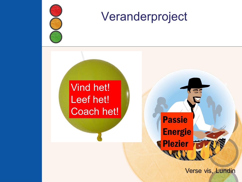 Veranderproject Vind het! Leef het! Coach het! Verse vis, Lundin Passie Energie Plezier