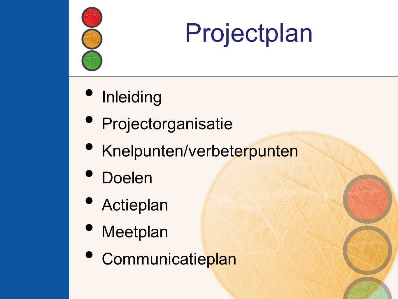 Projectplan Inleiding Projectorganisatie Knelpunten/verbeterpunten Doelen Actieplan Meetplan Communicatieplan