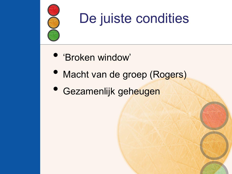 De juiste condities 'Broken window' Macht van de groep (Rogers) Gezamenlijk geheugen