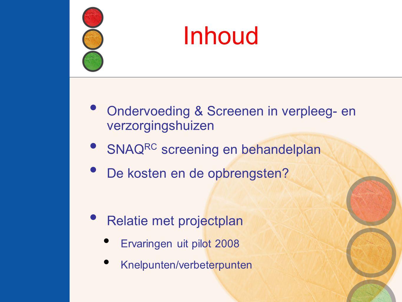 Inhoud Ondervoeding & Screenen in verpleeg- en verzorgingshuizen SNAQ RC screening en behandelplan De kosten en de opbrengsten.