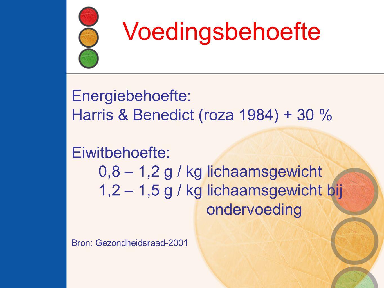 Voedingsbehoefte Energiebehoefte: Harris & Benedict (roza 1984) + 30 % Eiwitbehoefte: 0,8 – 1,2 g / kg lichaamsgewicht 1,2 – 1,5 g / kg lichaamsgewicht bij ondervoeding Bron: Gezondheidsraad-2001