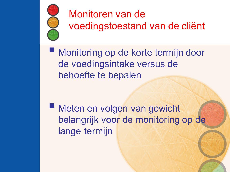 Monitoren van de voedingstoestand van de cliënt  Monitoring op de korte termijn door de voedingsintake versus de behoefte te bepalen  Meten en volgen van gewicht belangrijk voor de monitoring op de lange termijn