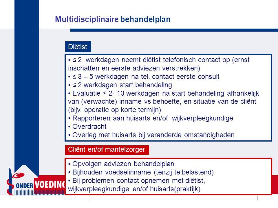 Multidisciplinaire behandelplan ≤ 2 werkdagen neemt diëtist telefonisch contact op (ernst inschatten en eerste adviezen verstrekken) ≤ 3 – 5 werkdagen na tel.
