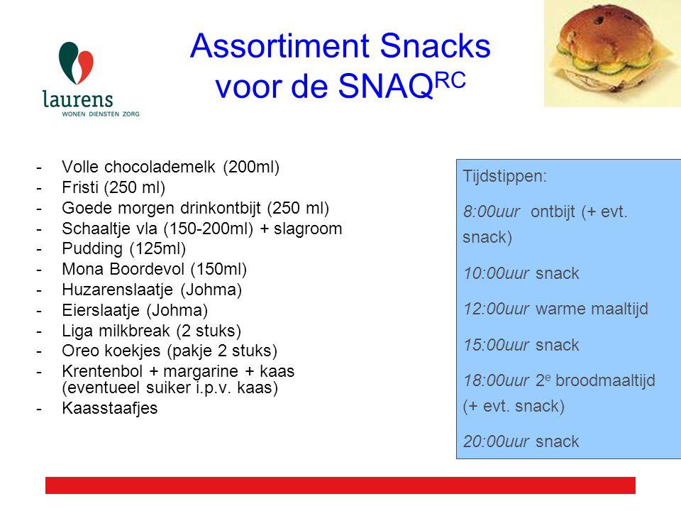 Assortiment Snacks voor de SNAQ RC -Volle chocolademelk (200ml) -Fristi (250 ml) -Goede morgen drinkontbijt (250 ml) -Schaaltje vla (150-200ml) + slag